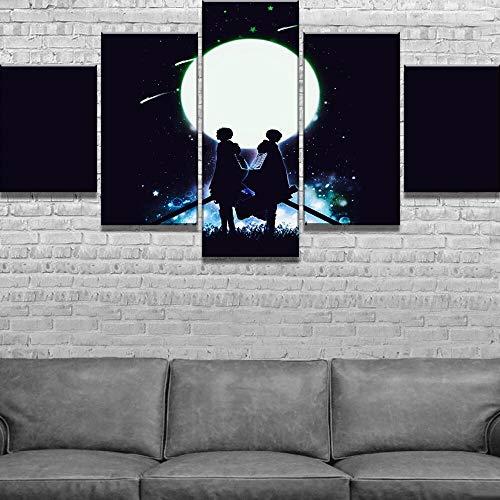 mmwin 5 Piezas HD Print Attack on Titan Anime Modern Decorativo s en Lienzo Arte de Pared para Decoraciones de hogar Decoración de Pared Obra de Arte