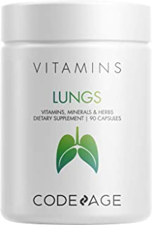 Lungs Vitamins, A, C, D, E, B6, Milk Thistle Lung Supplement, Zinc & Magnesium, Cordyceps, Reishi, Ginger, Peppermint Leaf...