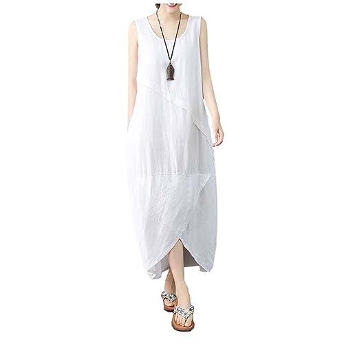 2bf9a31797 Ninmon Shares Women s Irregular Dress Sleeveless Cotton Linen Loose Casual  Long Dress