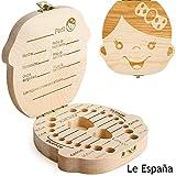 GeekerChip Bebé Dientes Caja(Niña),Caja de Madera para Guardar Dientes para Little Bebé [Versión Español]