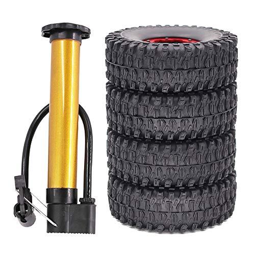 Gfhrisyty 4PCS 1.9 Pulgadas Beadlock Wheel Hub Clip 120 MM Juego de NeumáTicos para 1/10 RC Crawler Escalada Coche SCX10 TRX4 Axial 90046 -Rojo