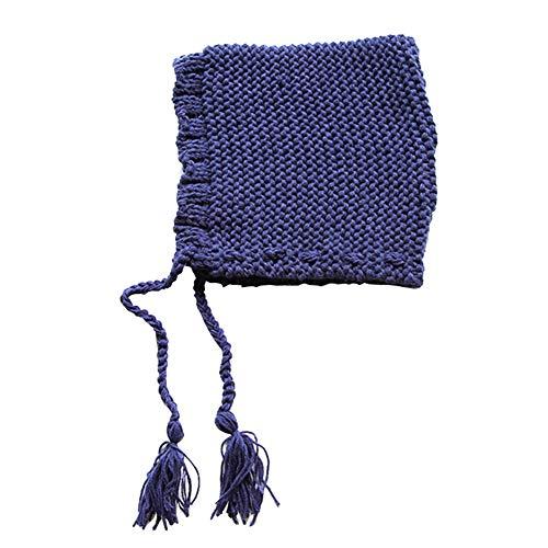 E-House Bonnet en tricot uni avec pompons en forme de triangle pour enfant Beige bleu marine