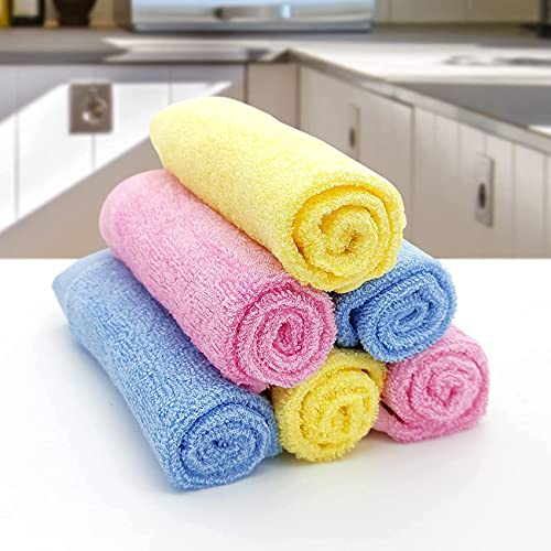 """WAYOFEE 6 Pack 100% Wood Fiber Cleaning Cloth Dish Cloth Kitchen Towel All-Purpose Suitable for Kitchen, Furniture, car, etc. Non-Stick Oil Scrubbing Power High Absorbent Reusable Durable - 12"""" x 12"""""""