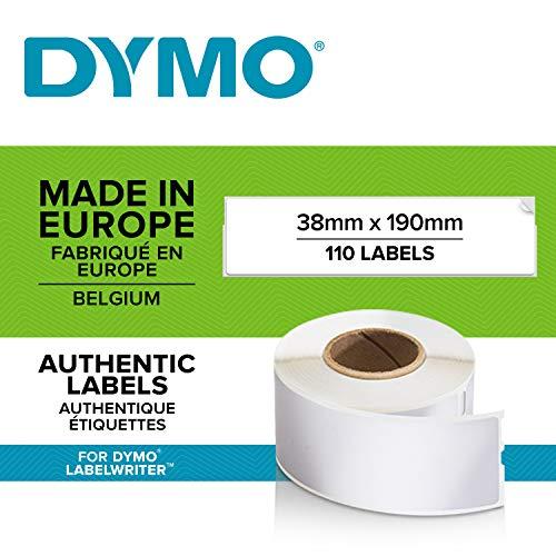 Dymo S0722470 LabelWriter-Etiketten für Aktenordner (klein, 38mmx190 mm, Rolle mit 110Etiketten, schwarzer Druck auf weißem Untergrund)
