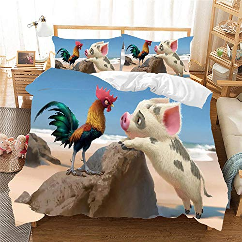 Rnvvaceo Comforter Cover Cartoon animal pig rooster Kids Boys Girls Bedding Set Print Decorative 3 Pieces 3D Digital Print Duvet Cover Set Bedspread Cover with 1 Pillowcase Zipper King size 240 x 22