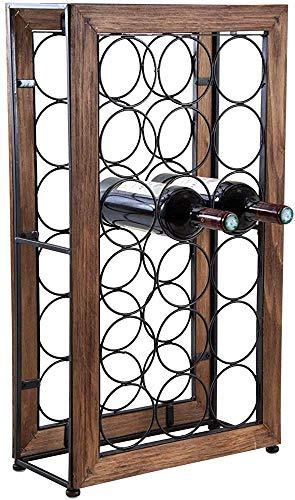 Estante de vino, caja de almacenamiento, puede almacenar 18 metales y botellas de madera,A
