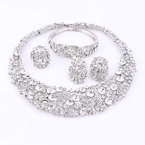 Nigerian Wedding African Beads Jewelry Sets Crystal Necklace Sets Silver Color Jewelry Set Wedding Accessories Party Silver