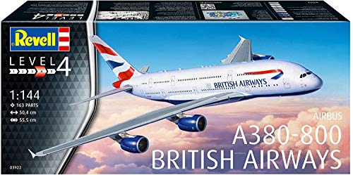 q4you Revell 03922 A380-800 British Airways, 1:144 Scale Plastic Model Kit, Unpainted