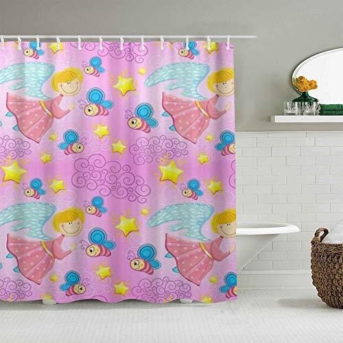MANISENG Duschvorhang aus Polyestergewebe,Bunter Baby-Feen-Engel,mit 12 dekorativen Badvorhängen aus Kunststoffhaken 72 x 72 Zoll