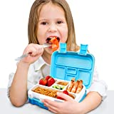 Glotoch Bento Box for Kids, 5-Compartment Bento Lunch Box for Kids Age3~9 with Spoon, Meal Fruit...