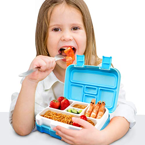 Glotoch Bento Box for Kids, 5-Compartment Bento Lunch Box for Kids Age3~9 with Spoon, Meal Fruit Snack Packing for Picnic Outdoors Lunch Containers -BPA Free &Leak Proof&Freezer and Microwave Safe