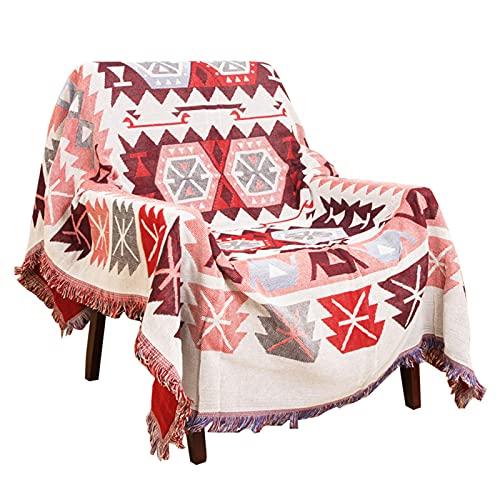 HOORDRY Fransen sofadecke Baumwolle,Decken 130 x 180 cm,Sofabezug im amerikanischen Ethno-Stil perfekt fürs einen Sessel, Picknickdecke,Tagesdecke/Sofa-Überwurf