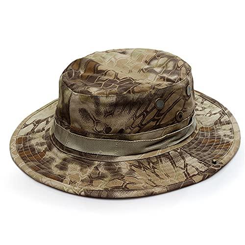 Sombrero de Camuflaje para Hombres Gorra Plana Sombreros Verano al Aire Libre Gorra de proteccin Solar Gorra Senderismo Escalada Camping Hat 20 Colores-Wasteland Python
