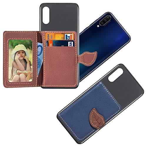 vingarshern HandyHülle für DOOGEE Y300 Schutzhülle Mit Haftendes Mini Geldbörse,Kartenhülle Aufklebbare Bumper Etui Doogee Y300 Hülle Silikon Hülle+Leder Brieftasche,Blau