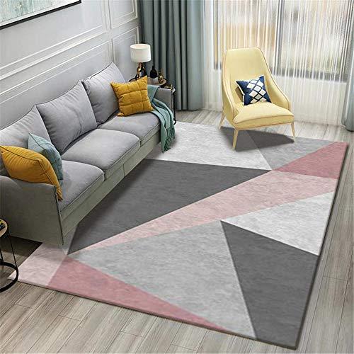 TEPPICH-CY-ZK Tappeto Soggiorno Moderno Soft-Pink Grey Black Modern Simple Geometric Pattern Super Soft Living Room Carpet-160 * 230cm