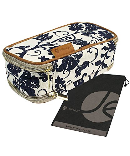 Blue Fleur Double-Sided Cosmetic Toiletry and Jewelry Bag Travel Organizer with Bonus Free Travel Pouch