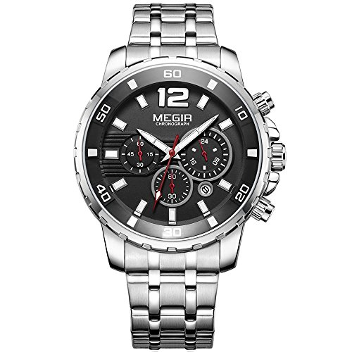 MEGIR Men's Stainless Steel Quartz Watches Chronograph 24 Hours Businesss Wristwatch for Man (Silver)
