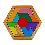 Larcele Juguete de Rompecabezas de Niños de Madera Tangram Shapes Rompecabezas, 11 Bloques ZHQB-01 (Estilo A,Multicolor)