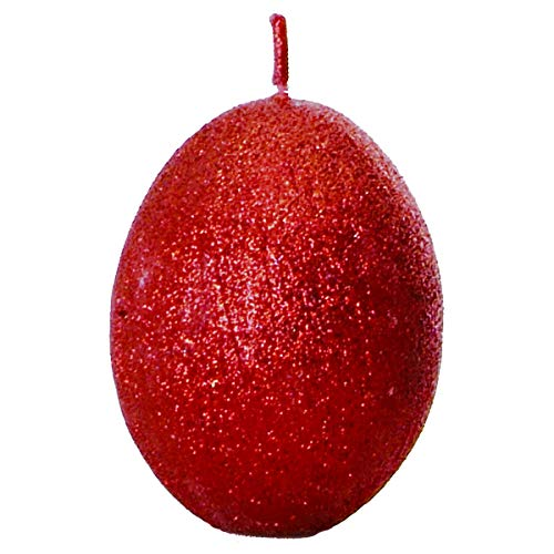 Enigma Supplies 2 Deep Red Maroon Egg Shaped Candles Sparkly Effect perfect for Christmas
