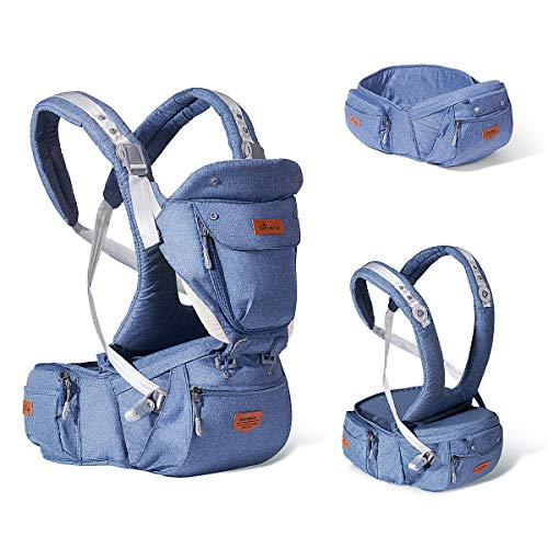 SUNVENO Baby Hipseat Ergonomic Baby Carrier Soft Cotton 6 in 1 Safety Infant Newborn Hip Seat for Home, Outdoor, Travel, 6-36 Months Babies Girls and Boys, Blue