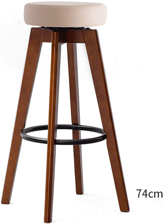 High Stool Home Solid Wood Bar Stool Bar Chair Modern Minimalist redating Creative Chair (color   D)