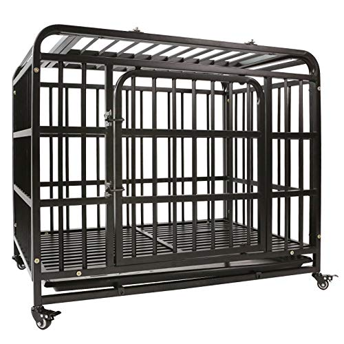 AGESISI Heavy Duty Dog Crate Strong Metal Dog Cage Dog Kennels for Medium and Large Dogs, Pet Playpen Indoor Outdoor with Four Wheels, Self-Locking Latches, 38 inches
