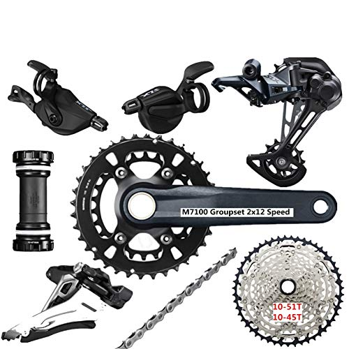 TSAUTOP Newest DEO-RE SLX M7100 GROUPSET 26-36T 170 175mm Crankset Mountain Bike Groupset 2x12-Speed 10-51t 10-45t M7100 Trasero Dera-ilurline para shi-ma-no (Color : 26 36T 170MM 10 45T)