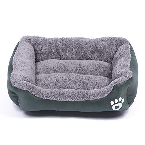 YMYGCC Pet Bed S-3XL Dogs Bed For Small Medium Large Dogs Big Basket Pet House Waterproof Bottom Soft Fleece Warm Cat Bed Sofa House 8 Colors 54 (Color : Dark green, Size : XL)