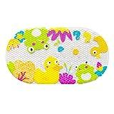 Tappetino per vasca da bagno per bambini, tappetino per vasca antiscivolo per bambino Tappetino per vasca da bagno per doccia in bagno con forti ventose 39X69CM (Anatra Gialla)