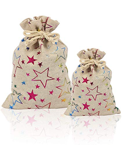 Bolsas de Tela de Lino, 20 pcs Bolsa de Arpillera con Cordón Estampado Estrella Saco de Yute para Boda Fiesta Almacenamiento de Regalo Bolsita de Joyería