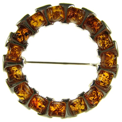 SA Brooches Baltic Amber and Sterling Silver 925 Cognac Brooch pin Jewellery Jewelry