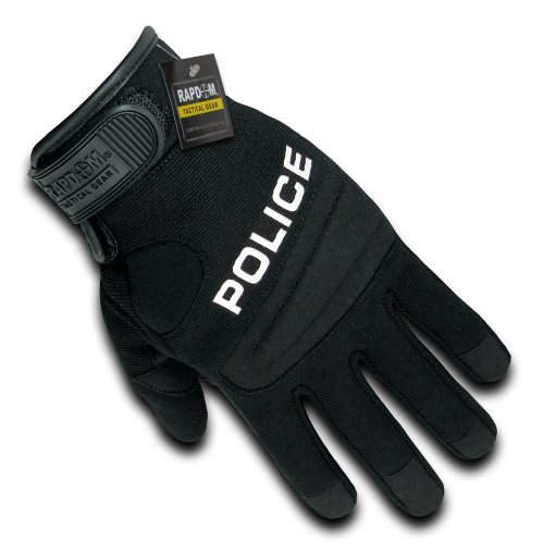 RAPDOM Tactical Police Digital Leather Gloves, Black, Large