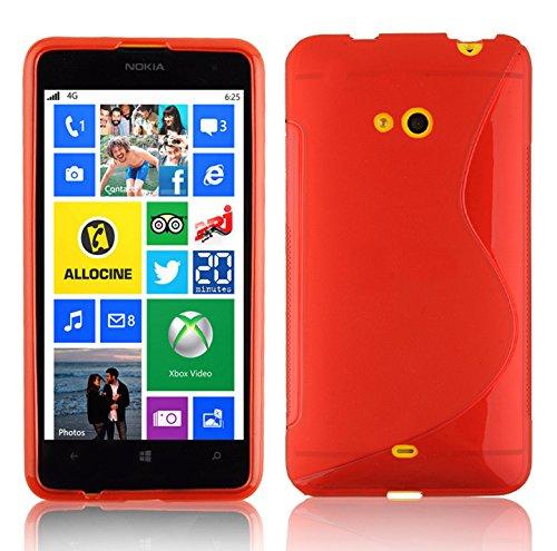 Cadorabo Hülle für Nokia Lumia 625 - Hülle in Inferno ROT – Handyhülle aus flexiblem TPU Silikon im S-Line Design - Silikonhülle Schutzhülle Soft Back Cover Hülle Bumper
