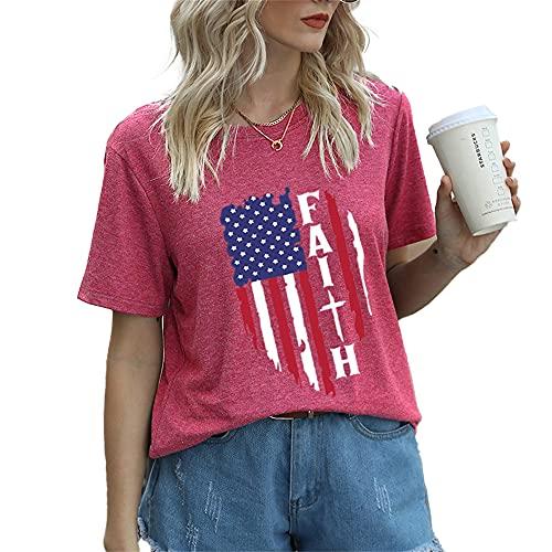 Mayntop Camiseta de manga corta para mujer con diseño de bandera de Estados Unidos, 4 de julio, A-rosa rojo, 36