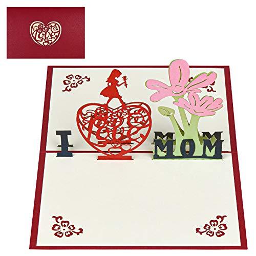 """Vicloon 3D Karte, Pop Up 3D Karte Grußkarte, Geburtstagskarte mit """"I love mom"""", Blumen Karte, Geburtstag, Muttertag, Hochzeitsgeschenk für Mutter und Ehefrau - 15×10cm"""