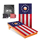 ACA American Cornhole Association - 2x4 Star Patriotic Professional Cornhole Boards - Betsy Ross with Corn Filled Stars and Stripes Bags and Nylon Tote