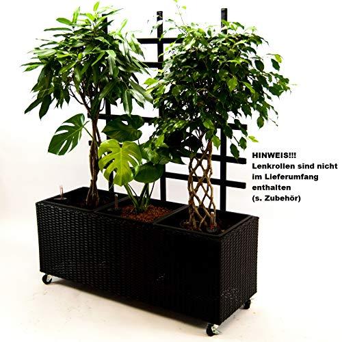 Elegant Einrichten Pflanzkübel, Pflanztrog Polyrattan mit Rankgitter 106x38x130cm schwarz.