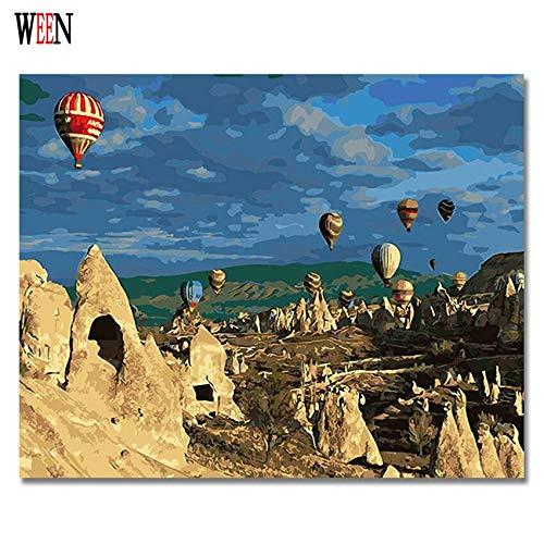 Puymnf Tot Luftballon Bilder Malen nach Zahlen DIY Digital Truthahn Stil Wand Öl Leinwand Kunst Färben nach Zahlen Kunstwerk Geschenk 40x50cm (Rahmenlos)