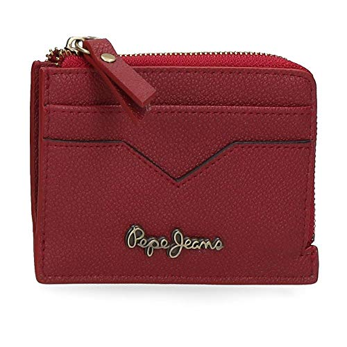 Pepe Jeans India Monedero con Tarjetero Rojo 11,5x8x1,5 cms Piel
