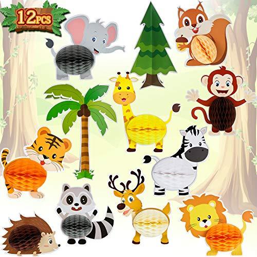 WILLBOND 12 Stücke Tiere Waben Dschungel Safari Tiere Waben Tiere Waben Mittelstücke Tiere Waben Tisch Dekoration zum Geburtstag Baby Dusche Partyzubehör