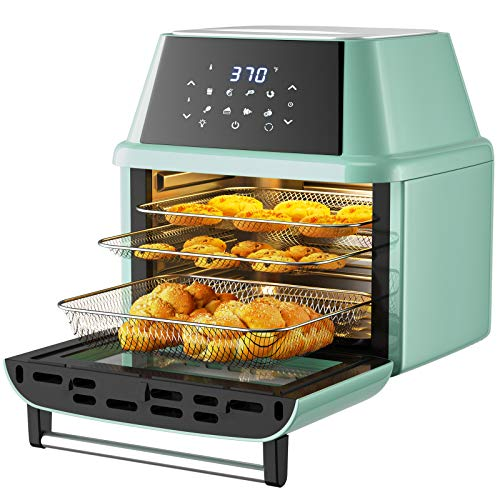 COSTWAY 8-in-1 Air Fryer Toaster Oven, Multifunctional Programmable 19QT Cooking Oven with 10 Accessories, Rotisserie, 8 Pre-set Recipe, LED Digital Touchscreen, Viewing Window, 1800W (Green)