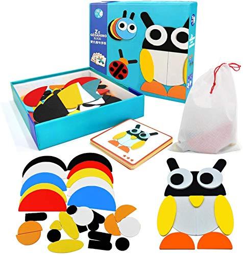 EPCHOO Holzmuster Blöcke, Tiere Puzzle Tangram Holzpuzzles Musterblöcke Farbsortierung Stapeln Spiel Lernspielzeug für Kleinkinder, 29 Shapes+20 Musterkarten mit Aufbewahrungstasche