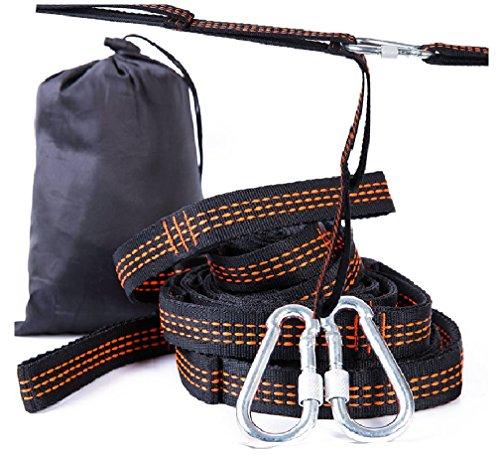 Tofern Lot de 2 Sangle Yoga Elastique Ajustable Polyester Robuste Mousquetons Rangement Kit Suspension Yoga Aérien Escalade Balancoire Randonnée Alpinisme