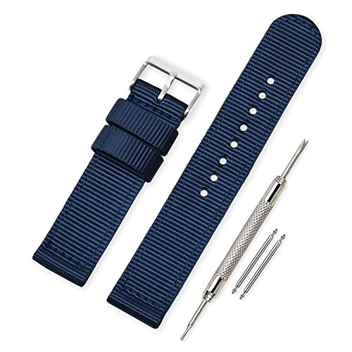 Vinband Correa Reloj Calidad Alta Lienzo Correa Relojes Militar del ejército - 18mm, 20mm, 22mm, 24mm Correa Reloj con Hebilla de Acero Inoxidable (20mm, Dark Blue)