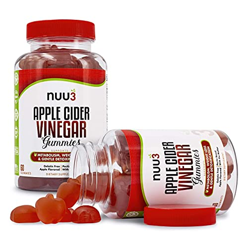 Made in USA - The World's TASTIEST Apple Cider Vinegar Gummy (They're Yummy!) - Apple Cider Vinegar Gummies with The Mother (Not A Mother, The Mother) - Nuu3 Apple Cider Vinegar Gummies - ACV Gummies