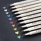 YONGQIANG メタリック マーカーペン 10色セット 水性 手帳ページ メッセージカード さまざまな用途のデコレーションに