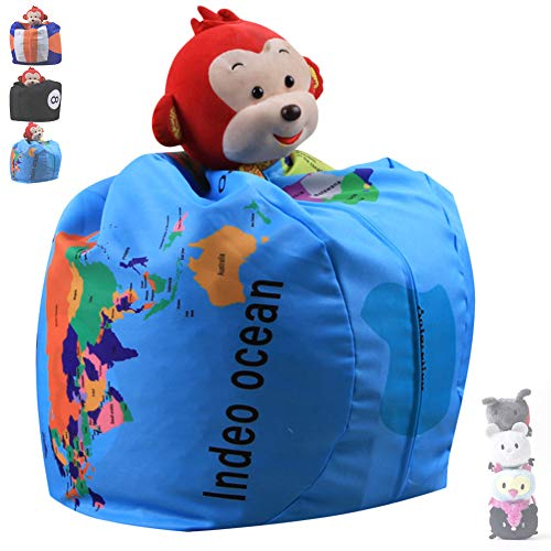 NANANA Bean Bag Chair Cover, Kids Soft Toy Storage Bean Bag, Stuffed Animal Storage Bean Bag Chair, 100% Cotton Canvas, Material, Best Stuffed Animal Storage Solution, 26 Inch,Color3