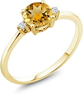 10K Yellow Gold Engagement Solitaire Ring set with 0.73 Ct Round Yellow Citrine and White Created Sapphires