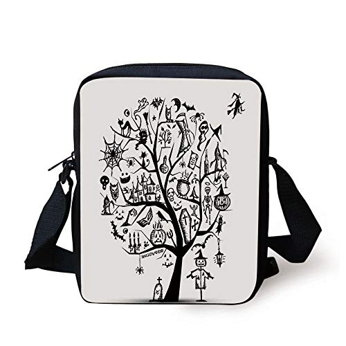 KLYDH Halloween Decorations,Sketchy Spooky Tree with Spooky Decor Objects and Wicked Witch Broom,Black White Print Kids Crossbody Messenger Bag Purse