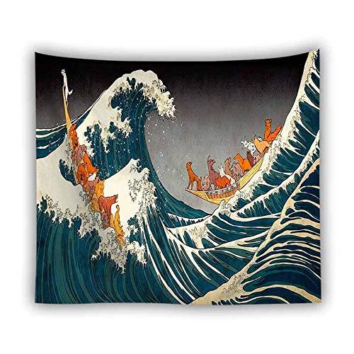 DFGNMB Van Gogh paisaje océano ola tapiz fondo de pared decoración colgante hippie tapiz 3D boutique arte tapiz colgante de pared decoración de la pared 100 * 150